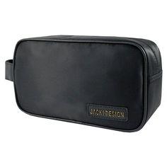 Jacki Design Mens Medium Toiletry Bag Black - ABC15007BK