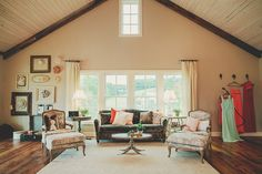 This attic living room is full of southern charm y'all.