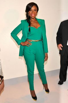 13edbf48064 Jennifer Hudson chose an emerald jumpsuit and coordinating blazer for  Project Runway s front row.
