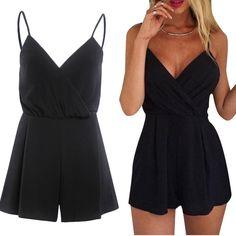 2016 Fashion Sleeveless V Neck Playsuits Jumpsuit Summer Women Casual Black Amazing JL 19