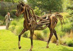 A horse sculpture called 'Atlantis,' made from fallen Dartmoor oak by artist Heather Jansch, is displayed at the Recycled Sculpture Show at London Zoo. Driftwood Sculpture, Horse Sculpture, Driftwood Art, Wooden Sculptures, Driftwood Ideas, Modern Sculpture, Garden Sculpture, Wooden Horse, Found Object Art