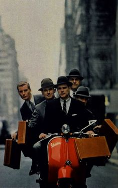 Vespa Businessmen...Once rode one in Holland with my friend Monica and two boys..we were 19 yrs old..happy days...