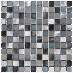 Malla Decorativa Flare con mezcla de cuadros de cristal en tonalidades grises y gris azulado con acero inoxidable pulido color plata y gris. Medida (cm) 30 x 30 Grosor (cm) 0.7