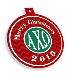 Alpha Chi Omega Chevron Christmas Ornaments  from GreekGear.com