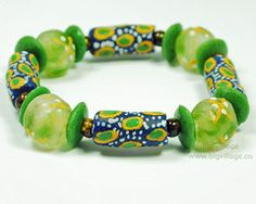 Blue and Green Bracelet featuring Recycled Glass, Fair Trade Beads. $16 Recycled Glass, Fair Trade, Beaded Bracelets, Beads, Big, Green, Jewelry, Bangles, Beading