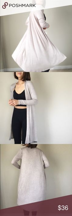 """Luxe long open front soft cardigan. Basic chic must have for the season. LAST PIECE. BEST SELLER.Long open front duster with the most comfortable stretchable material. IN Oatmeal ;Size S; bust 36"""", LENGHT : 38"""" longer back. Waist :30"""". Size M bust 37"""", LENGHT 38"""",waist 31"""". Size L bust 38"""",length 39"""",waist32"""". MADE IN USA. ALSO AVAILABLE IN BLACK. 👉🏼Follow me on  📸INSTAGRAM: @chic_bomb  and 💁🏻📘FACEBOOK: @thechicbomb CHICBOMB Sweaters Cardigans"""