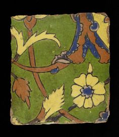 Glazed tile from the tomb of Madin Sahib - Lahore, India, 1650-1655.