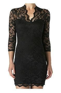 add 3/4 length lace sleeves to black dress