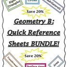 """Geometry """"B"""" Quick Reference Sheets Bundle!  This product contains 6 of my Best Selling Quick Reference Sheets  covering the main concepts from an ..."""