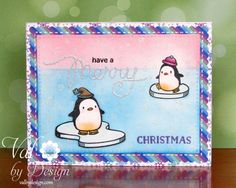A fun Holiday card with Penguins from the Mama Elephant Arctic Penguins stamp set