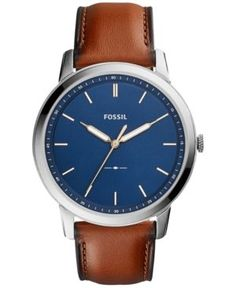 Fossil Men's The Minimalist Brown Leather Strap Watch 44mm FS5304 - Brown