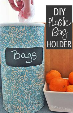 Figure out how to organize plastic bags with this easy DIY bag holder! Make a plastic bag holder from a recycled container - so easy and cute. Diy Bags Holder, Diy Plastic Bag Holder, Plastic Bag Storage, Plastic Bags, Grocery Bag Storage, Garbage Bag Holder, Grocery Bag Holder, Plastic Milk, Plastic Spoons