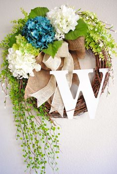 Blue & White Hydrangea Monogram Grapevine Wreath with Burlap. Spring Wreath. Summer Wreath. Housewarming, Wedding, Mother's Day. on Etsy, $70.00