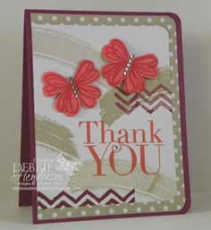 Stampin' Up! Work of Art, Flower Shop & Another Thank You. Punch Art Butterflies created with the Pansy Punch. Debbie Henderson, Debbie's Designs. #punchitup #stampinup