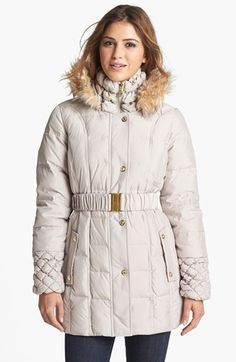 Betsey Johnson Faux Fur Trim Quilted Parka (Online Only) | Nordstrom