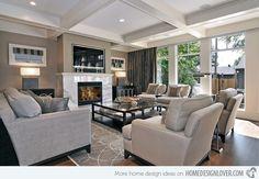 new transitional, Living Room, the warren arrangements   Home Design Lover