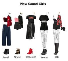 New Sound Girls Outfits for Peco Club Kpop Fashion Outfits, Edgy Outfits, Retro Outfits, Girl Outfits, Other Outfits, Stage Outfits, Dance Outfits, Green Dress Outfit, Swag Dress