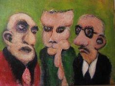 Gode rygter (grøn), 2010. 40x30cm, akryl på lærred. Indrammet maleri af Rune Frederiksen, vejl. mindstepris kr.: 800,-