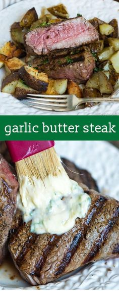 You've never had a steak like this! A homemade savory seasoned butter makes this Garlic Butter Steak melt in your mouth. Find tips for grilling the best steak ever. Garlic Butter Steak Recipe {Hints for The Best Cuts and Grilling Temperatures} AD Skirt Steak Recipes, Steak Marinade Recipes, Easy Steak Recipes, Grilled Steak Recipes, Grilling Recipes, Meat Recipes, Cooking Recipes, Healthy Recipes, Cooking Tips