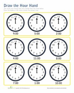 Worksheets: Hour Hand