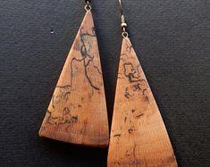 Wooden earrings. Plane tree wood earrings. Drop style earrings. Handmade natural wood jewelry. Gift for her.