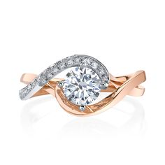 A contemporary bypass ring featuring carats of dazzling diamonds set in gleaming white gold, sweeping around warm rose gold from the Hemera Bridal Collection. Diamond Info: CTS Fits center stone size RD: MM GUIDE Center stone not included. Two Tone Engagement Rings, Designer Engagement Rings, Thing 1, Bypass Ring, Diamond Design, Ring Designs, Bridal Jewelry, Diamond Jewelry, Wedding Rings