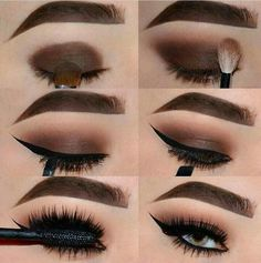 Brown smokey eye with winged eyeliner & bold brows
