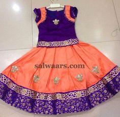 Peach and Purple Lehenga - Indian Dresses Kids Dress Wear, Kids Gown, Little Girl Dresses, Kids Wear, Baby Dress Design, Baby Design, Baby Birthday Dress, Kids Ethnic Wear, Kids Blouse Designs
