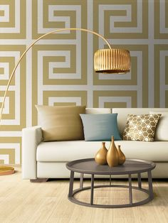 This stylish Giorgio Greek Key Wallpaper would make a great focal point in your home. The design features a large scale geometric interlocking angular pattern reminiscent of a maze or Greek key design in soft shades of cream and gold, with a textured fabric effect finish and a subtle sheen. Easy to apply, this high quality vinyl wallpaper would look great when used to create a feature wall or to decorate an entire room. Paper Wallpaper, Geometric Wallpaper, Vinyl Wallpaper, Interior Styling, Interior Design, Key Design, Greek Key, Cream And Gold, Geometric Designs