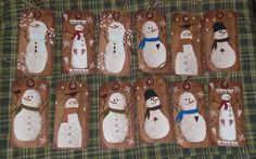 12 Primitive Folk Art Whimsical Christmas Snowman Hang Tags Gift Ties  #Handmade