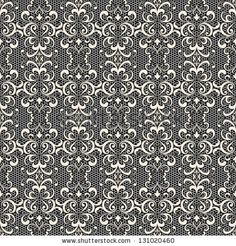 White lace on black, seamless vector pattern by Magenta10, via ShutterStock