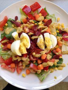 21 DAY FIX - BLT salad - 2 green (lettuce, tomato, corn, carrots, red pepper), 1 red (1 hard boiled egg, 2 slices turkey bacon), 1 blue (feta cheese), 1 orange (21 day fix Dijon vinaigrette)
