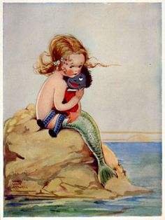 """Mabel Lucie Attwell was a British Illustrator who was know for her adorable images of children. This is """"The Beautiful Little Mermaid Hugs Her Golliwog""""."""