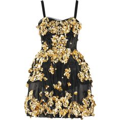 Dolce & Gabbana Embellished mesh dress (€6.070) ❤ liked on Polyvore featuring dresses, vestidos, short dresses, dolce & gabbana, gold, black mesh dress, beaded cocktail dress, black dress and black beaded cocktail dress