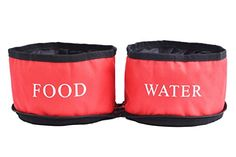 EXPAWLORER Travel Dog Bowl Pet Collapsible Bowls Double Food and Water for Dogs and Cats Red -- To view further for this item, visit the image link.