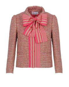 REDValentino Giacca tweed jacket with adorable pink and white ribbon.