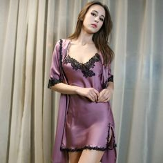 Details about Women Lingerie Sleepwear Robe Set Ladies Long Sexy Lace Nightgown Pijamas Mujer - Satin Kimono, Satin Nightie, Lace Nightgown, Sexy Lingerie, Satin Lingerie, Lingerie Sleepwear, Nightwear, Lingerie Underwear, Lingerie Dress
