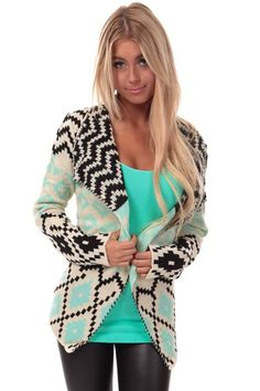 Oatmeal Open Cardigan with Tribal Print