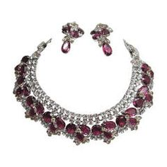 Robert Sorrell One Of A Kind Fuchsia & Jonquil Stones Necklace & Earring Set