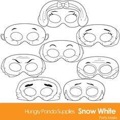 Snow White, Seven dwarves, dwarf, printable masks, digital mask Snow White Costume, White Costumes, Villain Mask, Printable Masks, Party Printables, Snow White Seven Dwarfs, Mask Party, Colouring Pages, Printable Coloring