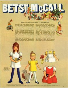 Vintage May 1970 Magazine Paper Doll Betsy McCall Celebrates Mother's Day Sort Of