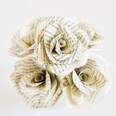Wedding Ideas & Inspiration These DIY book flowers are perfect for weddings, showers, parties, or ju Book Flowers, Paper Flowers, Paper Flower Centerpieces, Burlap Flowers, Centrepieces, Diy Flowers, Fabric Flowers, Wedding Flowers, Dollar Tree Wedding