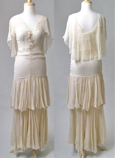 1920s Dress Sheer Chiffon Ivory Silk Rosettes