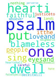 psalm 101 -  Psalm 101New International Version NIV Psalm 101 Of David. A psalm. 1I will sing of your loveand justice;to you,Lord, I will sing praise.2I will be careful to lead a blameless lifewhen will you come to me I will conduct the affairsof my housewith a blameless heart.3I will not look with approvalon anything that is vile. I hate what faithless people do;I will have no part in it.4The perverse of heartshall be far from me;I will have nothing to do with what is evil. 5Whoever…