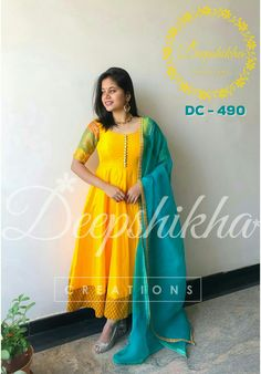 782dd6c61a22b DC - Beautiful sunshine yellow and ice blue color combination floor lenght  anarkali dress with net dupatta.For queries kindly WhatsApp   9059683293 11  March ...