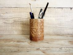 Vintage Leather Pencil Holder Old Embossed by GuestFromThePast