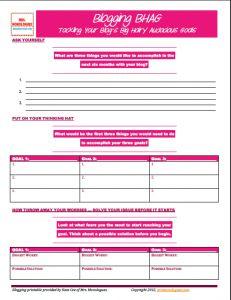 Blogging Goals Planning Worksheet