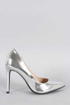 "Anne Michelle Metallic Patent Pointy Toe Pump. Description This  pointy toe  silhouette, and wrapped stiletto heel. Finished with lightly padded insole and easy slide style.Material: Metallic Patent (man-made)Sole: Rubber  Measurement Heel Height: 4.1"" (approx)Fitting Tips:Foot Model is a true size 6, foot measures 8.9"" from heel to toe, width measures 3.25"".Model's Review: True to size."