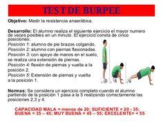 baremo test de burpee Burpees, Judo, Physical Education, Physics, Exercise, Fitness, Crunches, Professor, Ejercicio