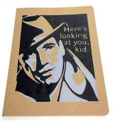 EXTRA LARGE JOURNAL with Humphrey Bogart Casablanca Quote Here's Looking at you, Kid.